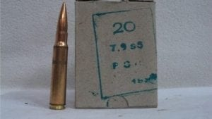 8MM Mauser ball ammo, 196 grain projectile 20 round box.