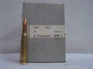 8MM Mauser German ammo in 20 round box.