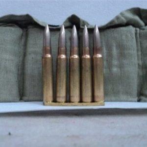 8mm Mauser ammo in 5 round stripper clips and 70 round bandoleer, price for one 70 round bandoleer.