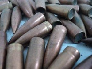 8MM Mauser 155 Grain flat base copper jacket ball bullets, 100 bullet bag.