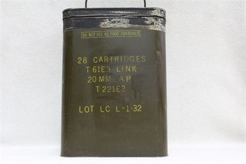 20mm Vulcan Electric Primed, brass case AP ammo, linked in original 28 round can. Price per 28 round can
