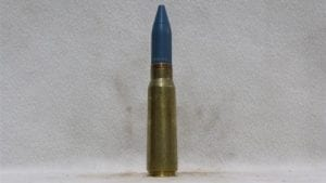 20mm Vulcan fired brass case dummy round with blue TPT projectile, Price Each