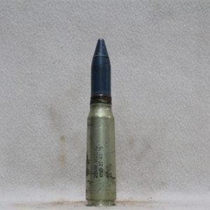 20mm Vulcan fired steel case dummy round with blue tpt projectile, Price Each