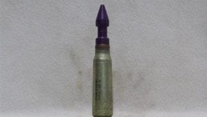 0mm Vulcan dummy round with fired steel case and purple proof test projectile, Price Each