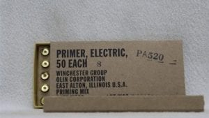 20mm Vulcan Electric Primers (also fits 30mm Vulcan)Winchester mfg. PA-520, box of 100