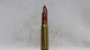 20mm Phalynx- fired brass case dummy round with broken red sabot (cutaway?), Price Each