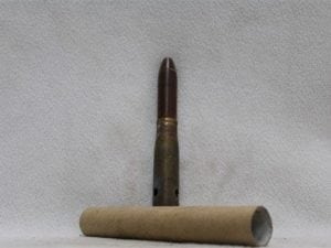 20mm Oerlikon brass case dummy round, fairly clean,with paper protector tube, Price Each