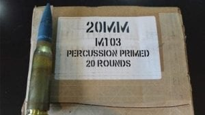 20MM M103, Percussion primed, brass case live tracer ammo. 20 round box