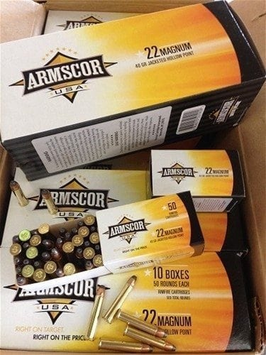 22 Magnum 40 grain JHP Made by Armscor. 500 round brick