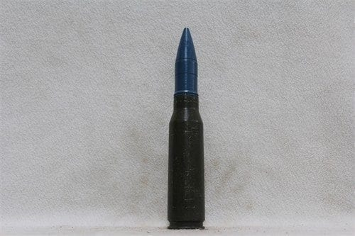 25mm Bushmaster fired case dummy round with blue tp projectile, Price Each