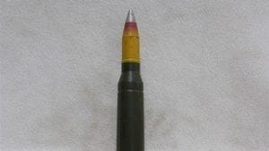25mm Bushmaster new case dummy round with inert HEIT projectile and inert nose fuse, Price Each