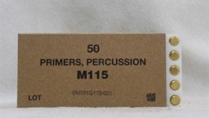 25mm Bushmaster percussion primers, Box of 50, pe (sold only to ffl, test labs or dd licensees)