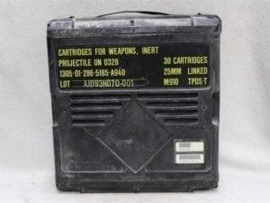 25mm Bushmaster plastic ammo boxes, Price Each