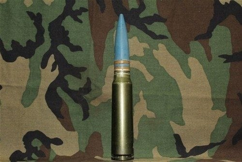 30mm Vulcan, GAU-8 Dummy Round with double yellow bands, blue projectile, Price Each