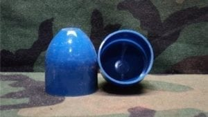 40 mm Hollow blue plastic caps.