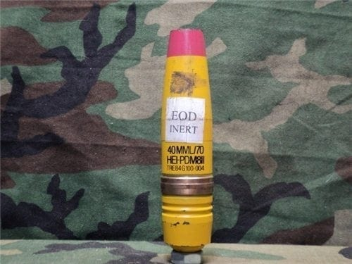 40mm L-70 yellow/red HEIT inert rare projectile