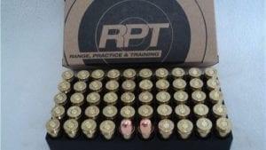 45 Auto 230 grain RN, Re-manufactured ammo. 800 FPS. 50 round box.