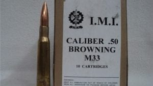 50 Cal ball ammo IMI Manufacture, Marked caliber .50 browning m-33 . 10 round pack.
