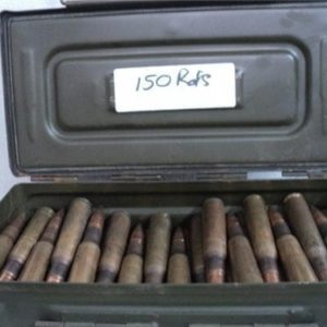 50 cal Ball ammo WWII and later. Assorted head stamp, Boxer primed, U.S. 150 round can, price includes one side latch ammo can.