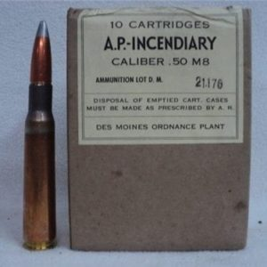 50 cal api ammo marked A.P. Incendiary M-8 lot D.M. 1944. 10 round pack.