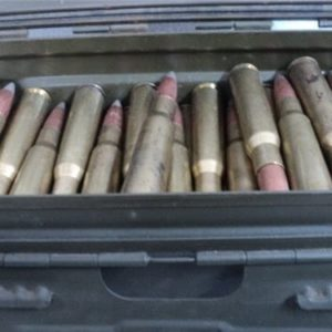 50 cal api ammo foreign, berdan primed. 150 rounds in a side latch ammo can.