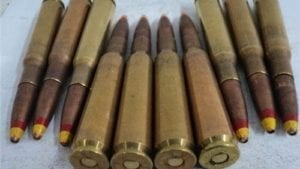 50 cal ammo loaded with spotter tracer. 10 round pack.