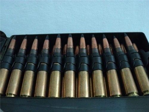 50 cal AP ammo U.S, linked, original U.S. GI TW 44 ammo. 100 round can.