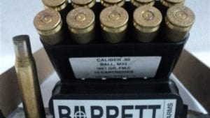 50 cal brass case barret headstamp. 10 case pack.