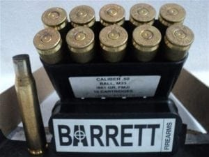 50 cal brass case barret headstamp. 10 case pack.