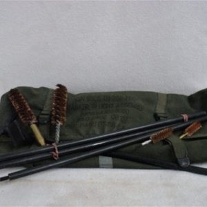 50 Cal cleaning kit with carry bag. Includes T handle rod, 2 chamber brushes, bore rod and 2 bore brushes.