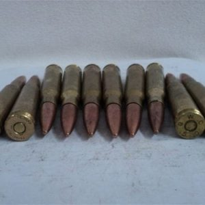 50 Cal. Ball ammo, WWII and later, Foreign, Berdan primed. 10 round pack