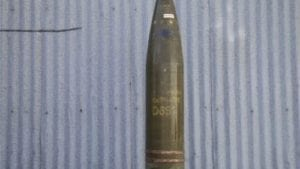 8 Inch cluster bomb projectile with out nose fuse.