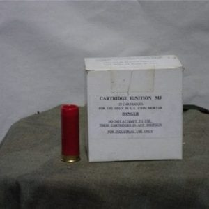 "81mm mortar launch cartridge marked ""cartridge, ignition M-3 for use in 81mm mortars only"" Box of 25 rounds"