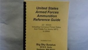 Small caliber ammunition identification guide 22 to 40mm. Includes corrosive ammo cutoff dates and totals for ammunition manufactured in WW-1 and 2