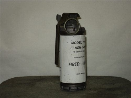 Flash bang, Inert, Fired with fired fuse, Trip wire holder and spoon.