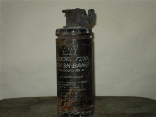 Flash bang, Inert, Fired model 7290, 1.5 second delay with part of original label still on unit. (sold as-is