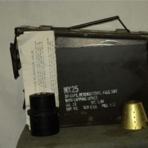 Original NX-25 labeled 30 caliber anno can with 30 caps, Installation instructions and capping device