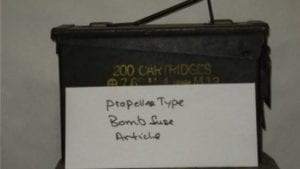 Article on propeller type bomb fuse.