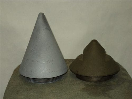 Large inert nose fuse with 3-1/2 inch base, fits some 16″ battleship projectiles plus other.