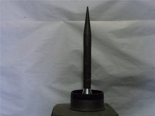 120MM caseless cartridge shell head with attached cone stabilized penetrator without sabot.