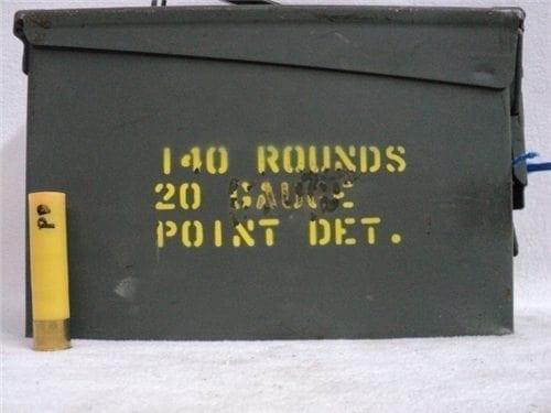20 gauge point detonation ammo. 140 round can