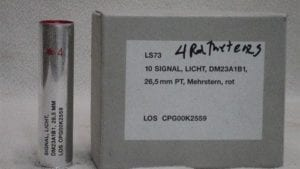 26.5 four red meteor flares. LS75. Box of 10.