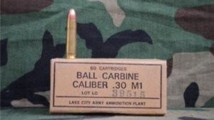 30 carbine Ball ammo. 50 round box.