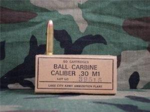 30 carbine Ball ammo. 50 round box.