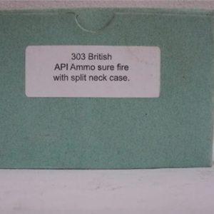 303 British API ammo. Sure fire split neck brass case. 20 round box.
