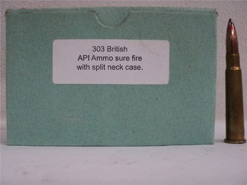 303 British API ammo. Sure fire split neck brass case. 20 round box.