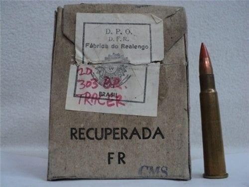 303 British Tracer Ammo. U.S. Tracer bullet brass case. 20 round box.