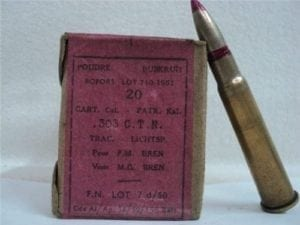 303 British Tracer ammo, Labeled CART 303 C.T.N. TRAC.FN. May not tace, 20 round box.