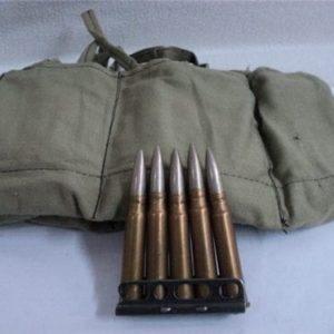 303 British IRAQUI Ball ammo in 50 round bandoleer and stripper clips.