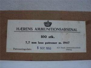 303 British wood tip blanks, 100 round box marked HAERENS Ammunition arsenal.